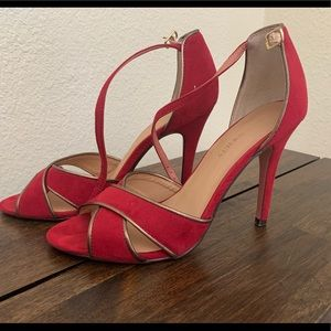Sole Society Red Suede open toe heels